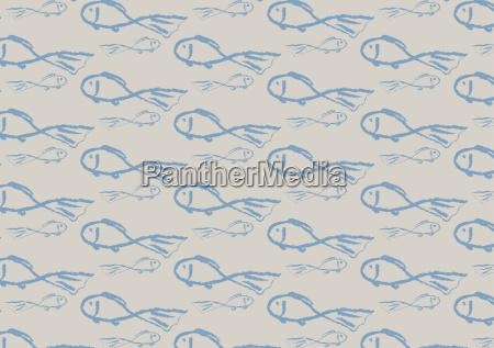 light blue fish patterns in trendy