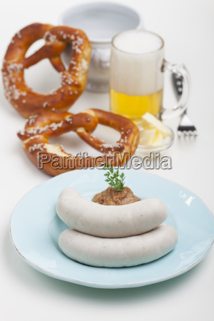 bavarian veal sausage with mustard