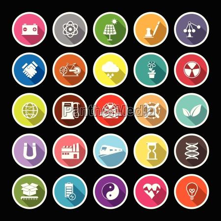 renewable energy flat icons with long