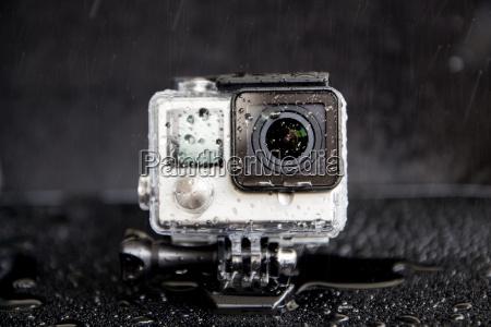 closeup water splash on extreme camera
