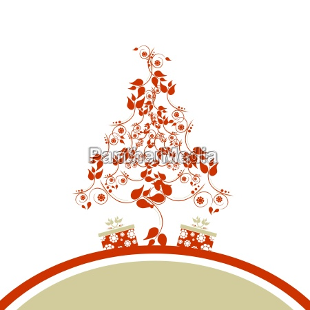 christmas background with christmas tree floral