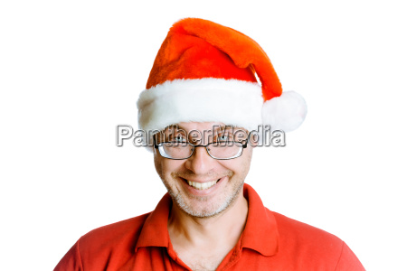 smiling happy unshaven man with glasses