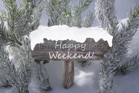 christmas sign snow fir tree branch