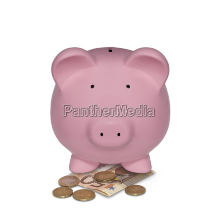 piggy bank with euro note and