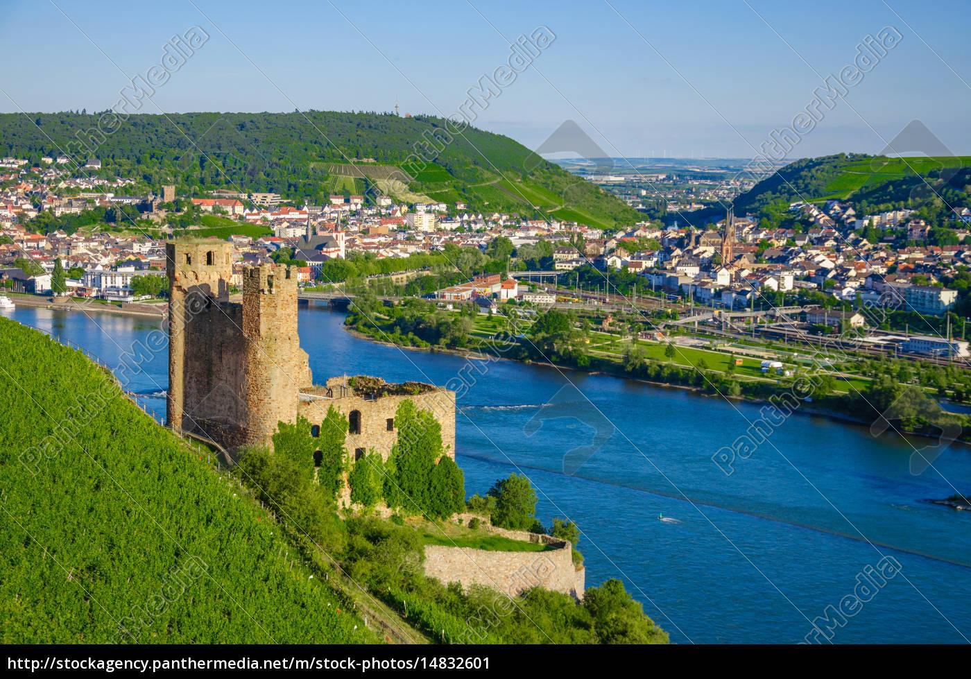 ehrenfels, castle, on, rhine, river, near - 14832601