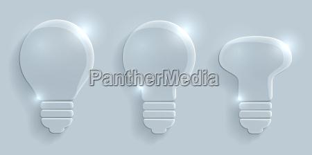 glass lightbulbs set on grey background