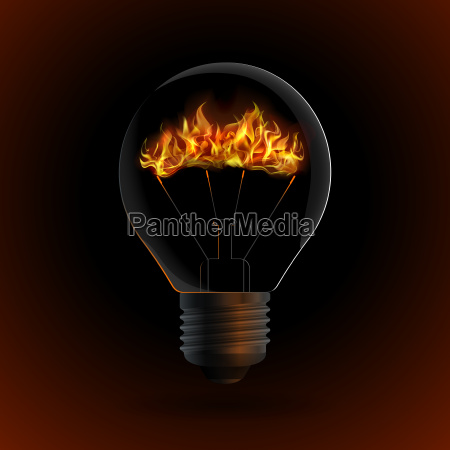 lightbulb with fire isolated on dark