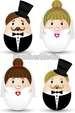 bride and groom vector set