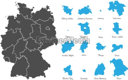 germany map with states vector set