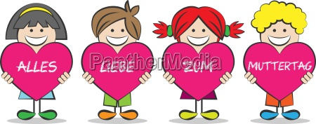 mother children vector heart