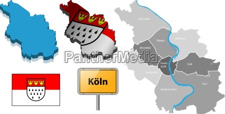 cologne map with districts flag and