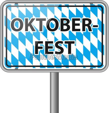 oktoberfest sign with bayern flag vector