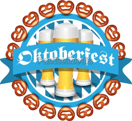 oktoberfest vector icon with pretzel and