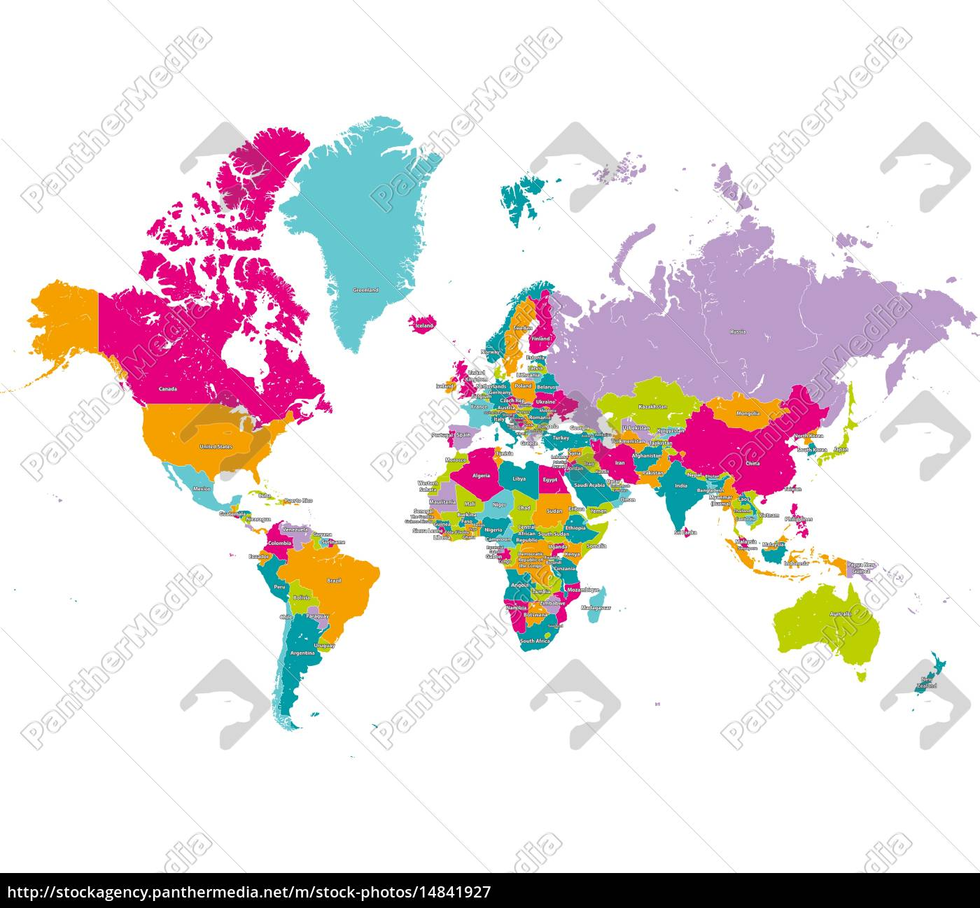 World Map With Countries Borders And Country Names Royalty Free