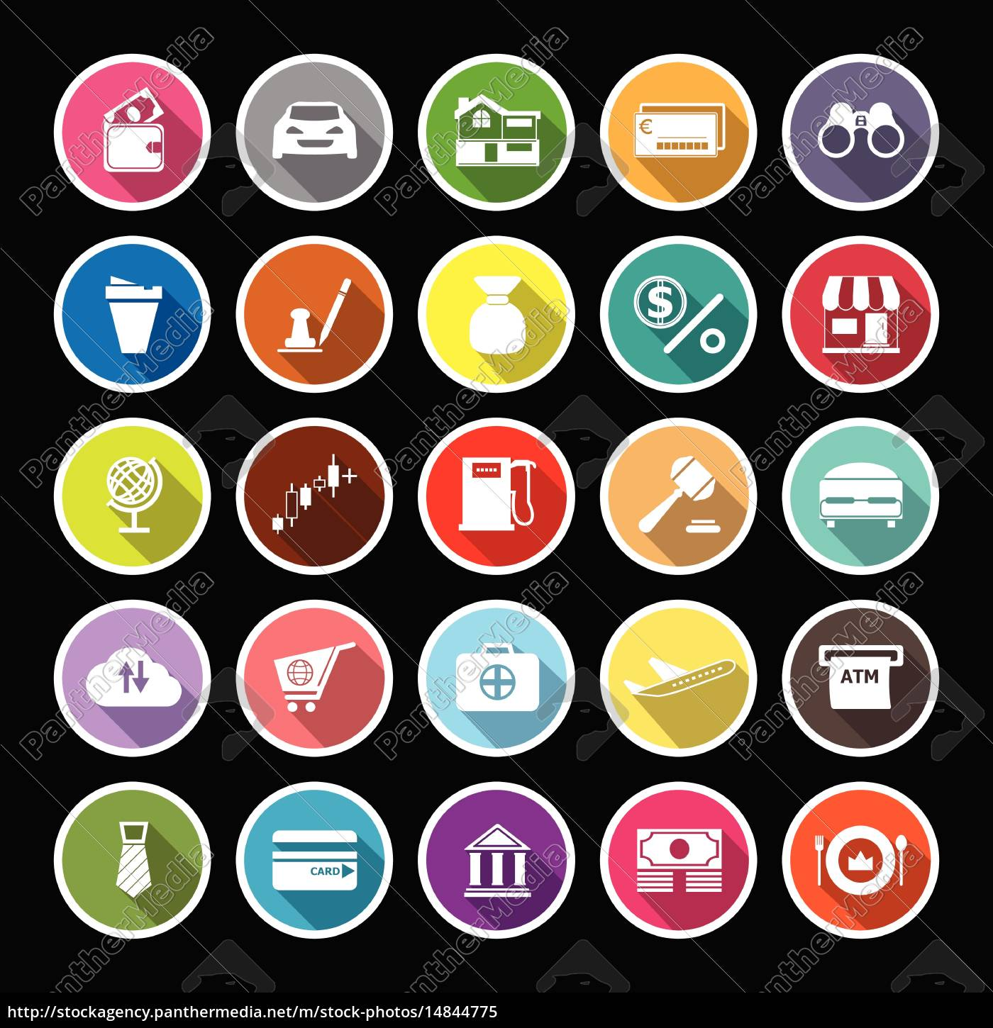 e, wallet, flat, icons, with, long - 14844775