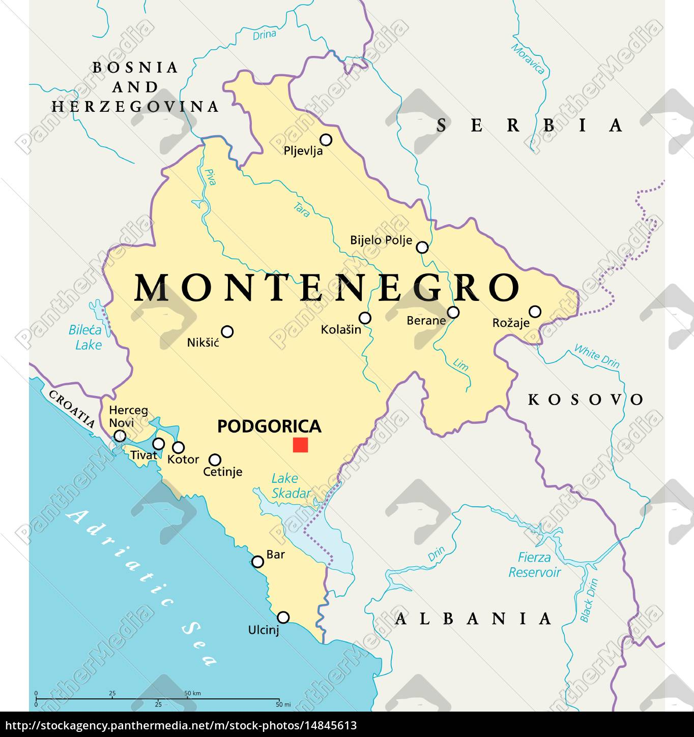 royalty free vector 14845613 - Montenegro Political Map