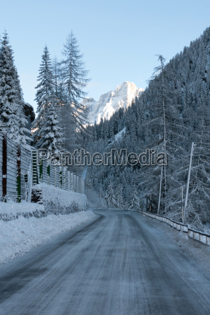 icy road northern italy