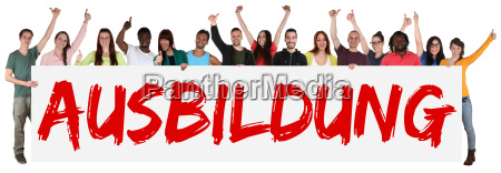 education teenagers multicultural group of young