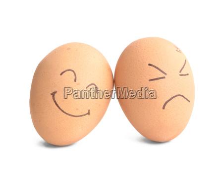 smiley and angry egg