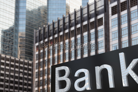 sign of bank exterior building tower