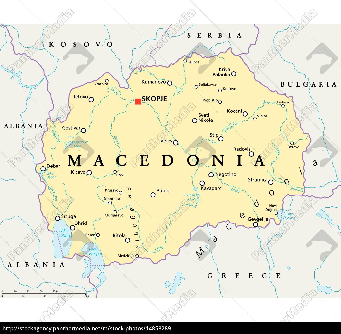 Macedonia Political Map Royalty Free Image 14858289