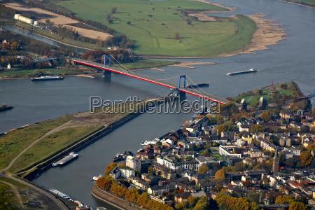 bridge over the rhine with harbor