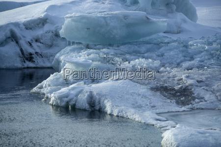 ice blocks melting at glacier lagoon