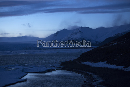 snowy volcano landscape at glacier lagoon