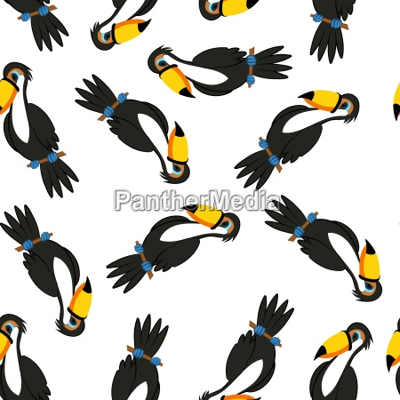seamless funny cartoon toucan