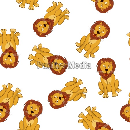 seamless funny cartoon lion