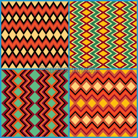 four seamless ornamental patterns on ethnic