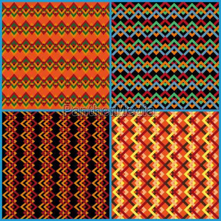 four seamless patterns on ethnic motifs
