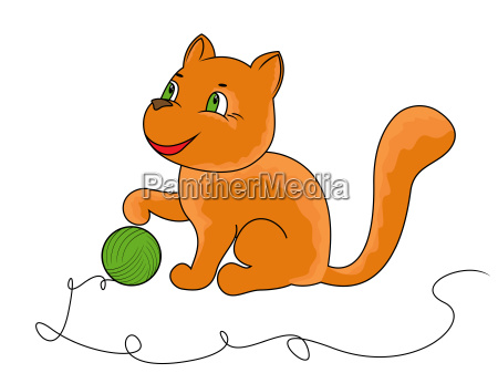 little funny cat plays with a
