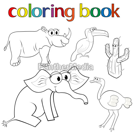 set of animals and cactus for