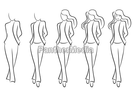 sequence of drawing a beautiful female
