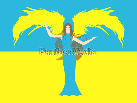 female angel against the flag of
