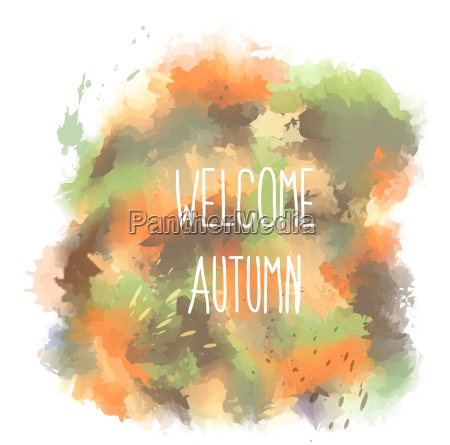 welcome autumn hand drawn lettering on