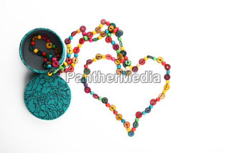 heart shaped colorful beads isolated on