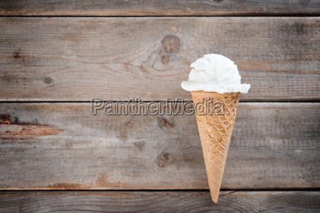 top view vanilla ice cream cone