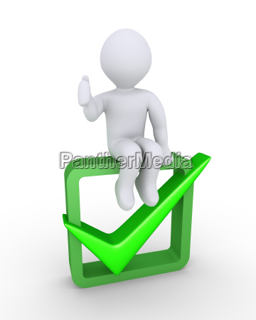 person approves on check symbol