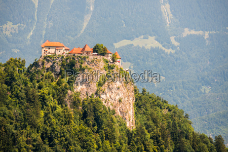 detail of bled castle in slovenia