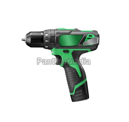 green electric screwdriver isolated on white