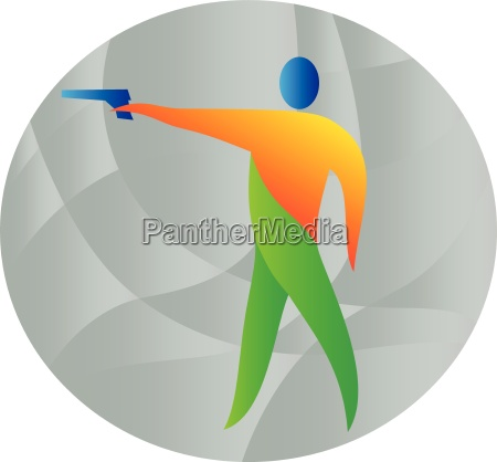 air pistol shooting circle retro