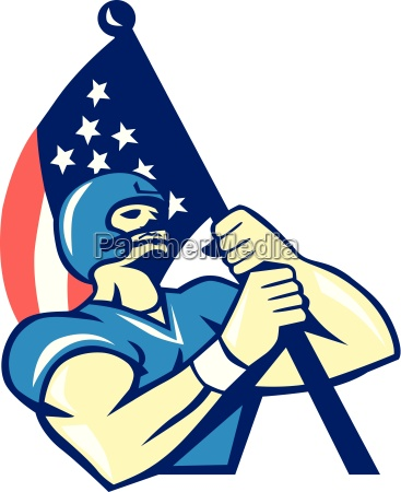 american football player holding flag retro