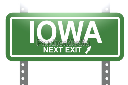 iowa green sign board isolated green