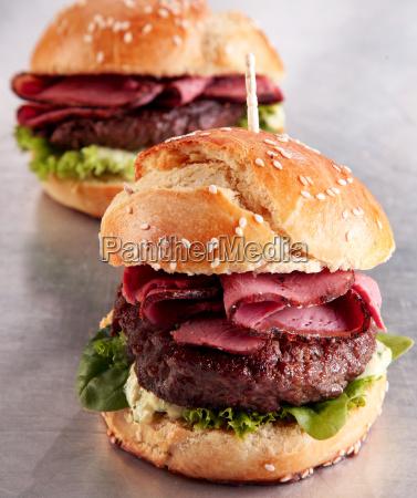 roast beef burger on a sesame