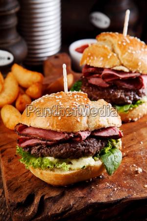 roast beef or pastrami burger on