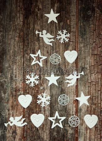 decorative christmas tree design on wood