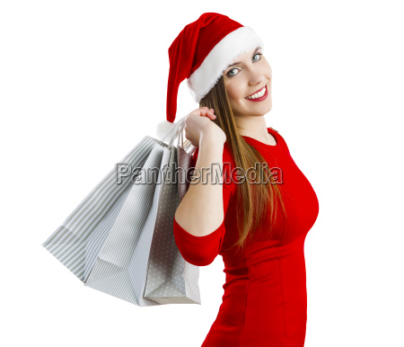 santa woman with shopping bags