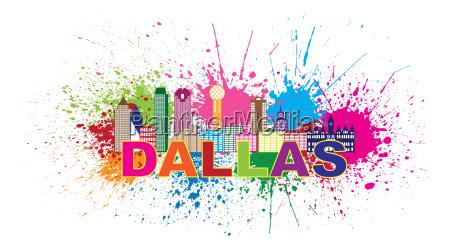 dallas texas usa america skyline colorful